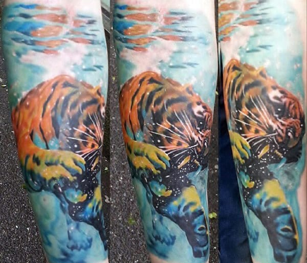 Gentleman With Tigher Water Shading Tattoo On Forearm
