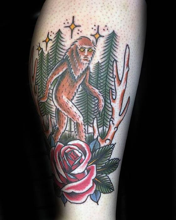 Gentleman With Traditional Bigfoot Tattoo On Leg