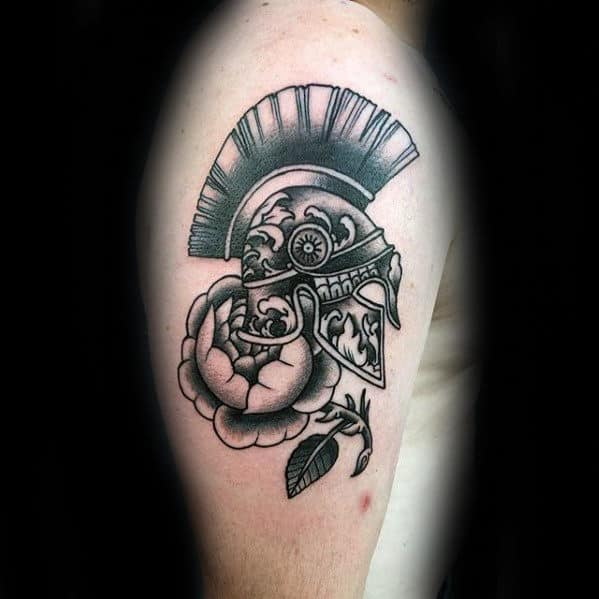 Gentleman With Traditional Flower Spartan Helmet Arm Tattoo