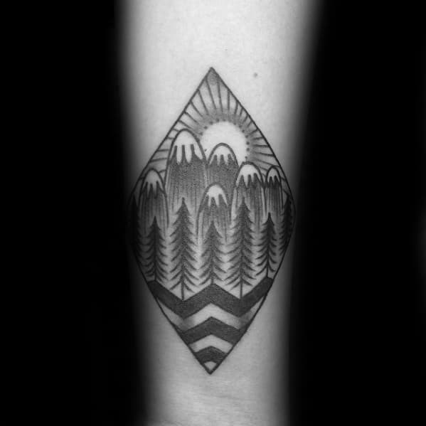 Gentleman With Traditional Mountain Tattoo