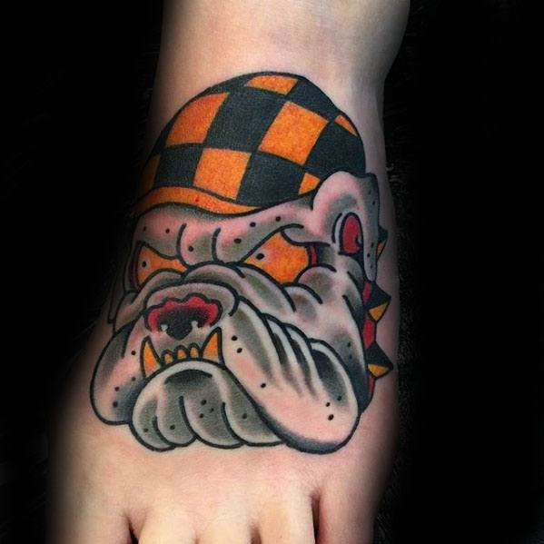 Gentleman With Traditional Old School Cool Bulldog Foot Tattoo