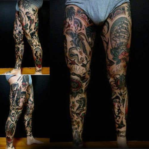 Gentleman With Traditional Tattoos Full Leg Sleeves Design