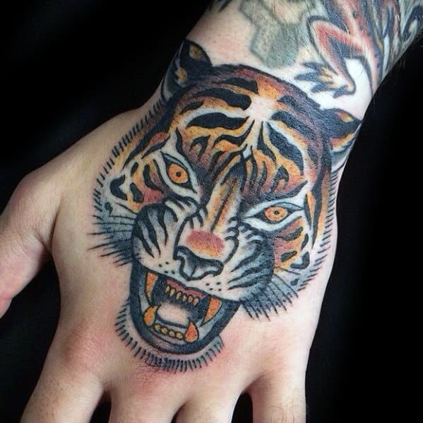 Gentleman With Traditional Tiger Head Hand Tattoo