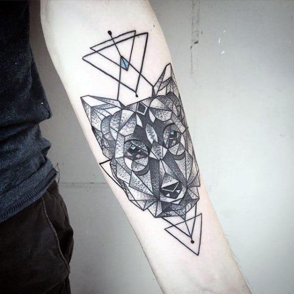 Gentleman With Triangle Geometric Wolf Inner Forearm Tattoo Design