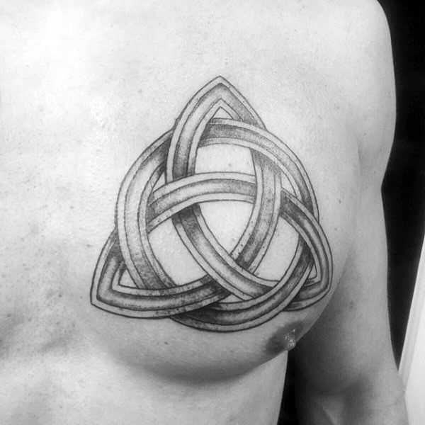 Gentleman With Trinity Celtic Knot Tattoo On Chest
