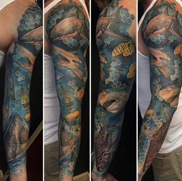 Gentleman With Unique Ocean Sleeve Tattoo Design