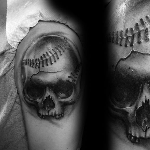 Gentleman With Upper Arm Skull Baseball 3d Sports Tattoo
