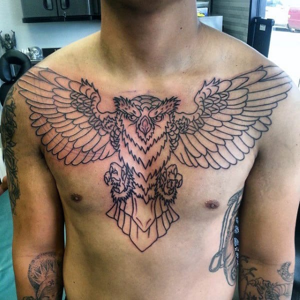 Gentleman With Upper Chest Traditional Black Ink Outline Owl Tattoo
