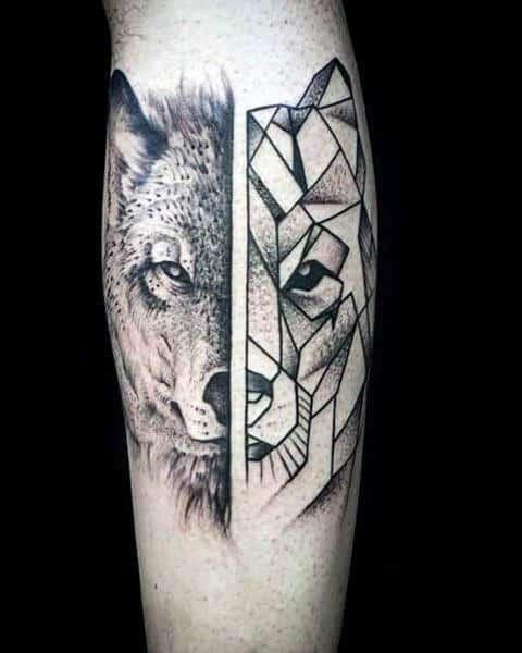 Gentleman With Upper Forearm Geometric Wolf Tattoo