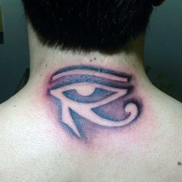 Gentleman With Upper Neck And Back Eye Of Horus Tattoo Design
