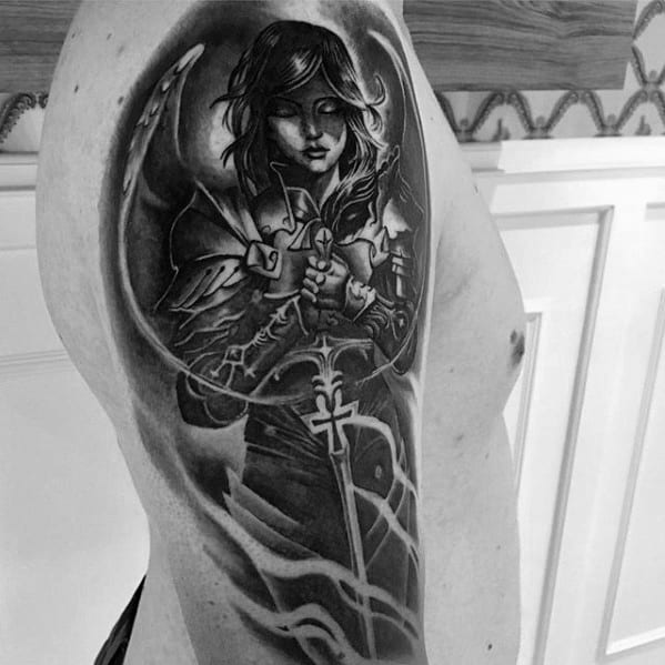 Gentleman With Valkyrie Half Sleeve Tattoo