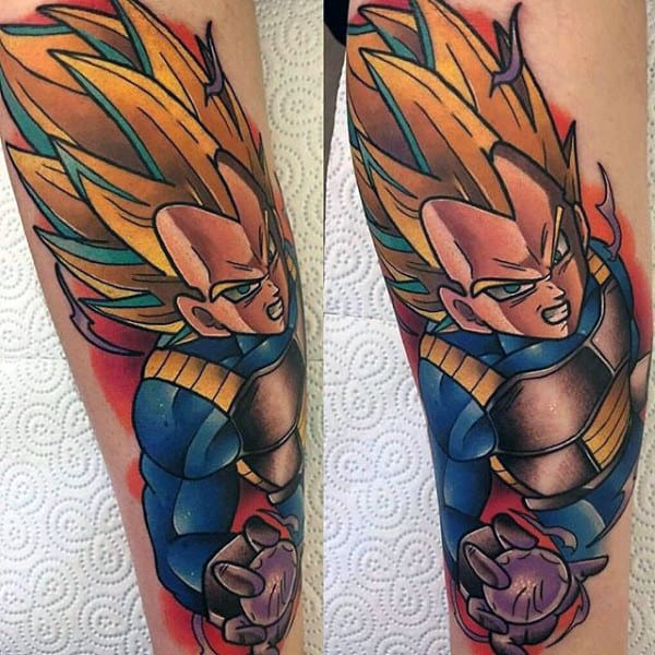 Gentleman With Vegeta Dragonball Video Game Tattoo Designs