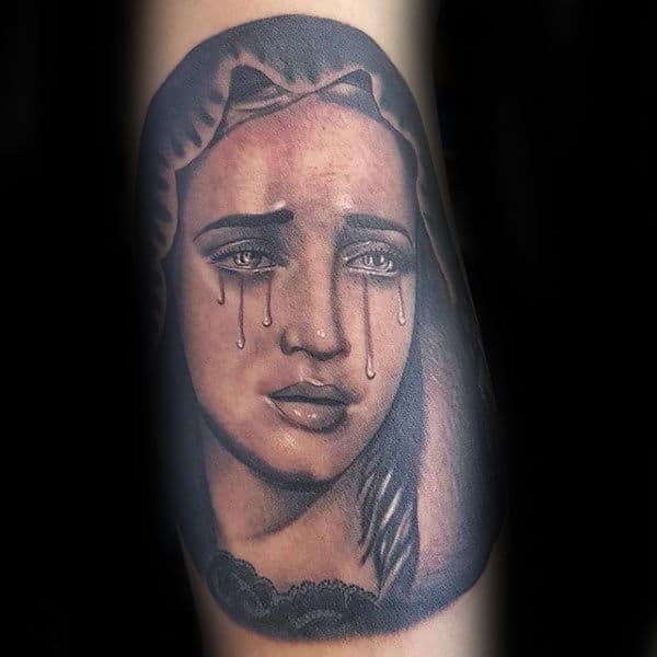 Gentleman With Virgin Mary Crying Arm Tattoo Design