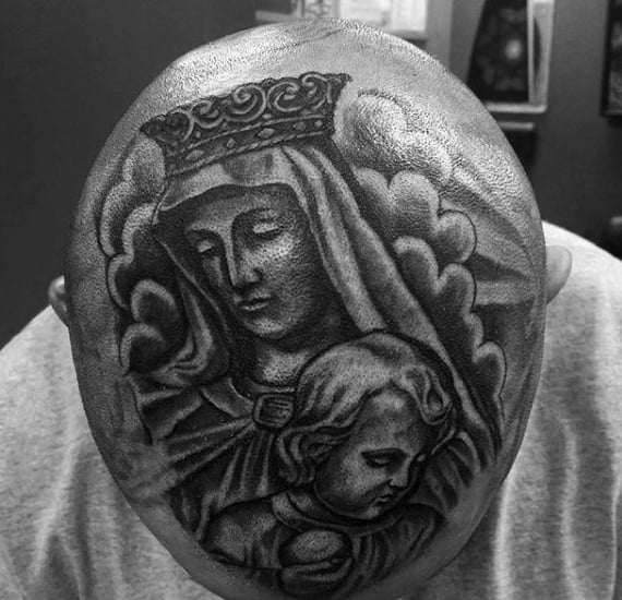 Gentleman With Virgin Mary Head Tattoo