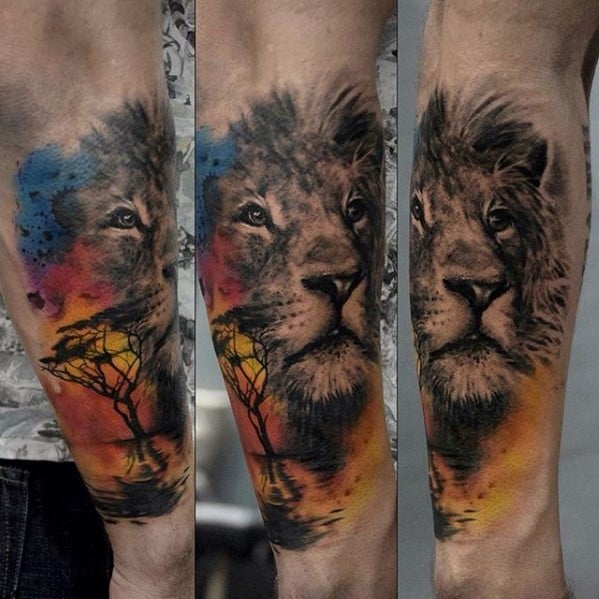 Gentleman With Watercolor Africa Lion Outer Forearm Tattoo