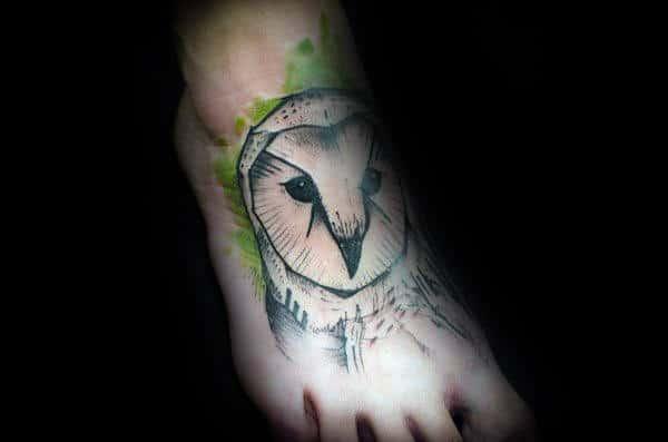 Gentleman With Watercolor Barn Owl Foot Tattoo