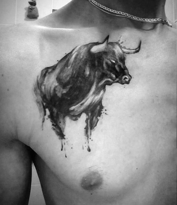 Gentleman With Watercolor Bull On Chest Taurus Tattoo Ideas