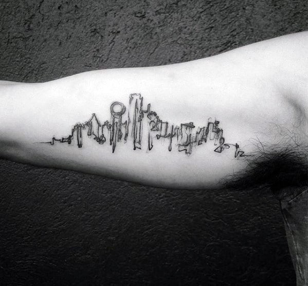 Gentleman With Watercolor City Inner Arm Bicep Dallas Skyline Tattoo