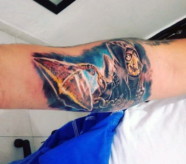 Gentleman With Watercolor Mortal Kombat 3d Forearm Tattoo
