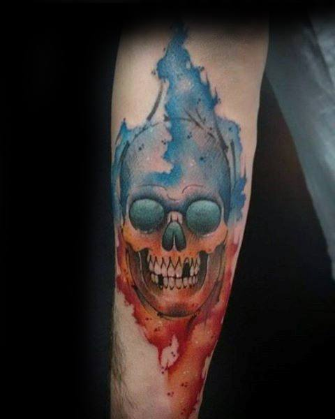 Gentleman With Watercolor Skull Tattoo On Forearm