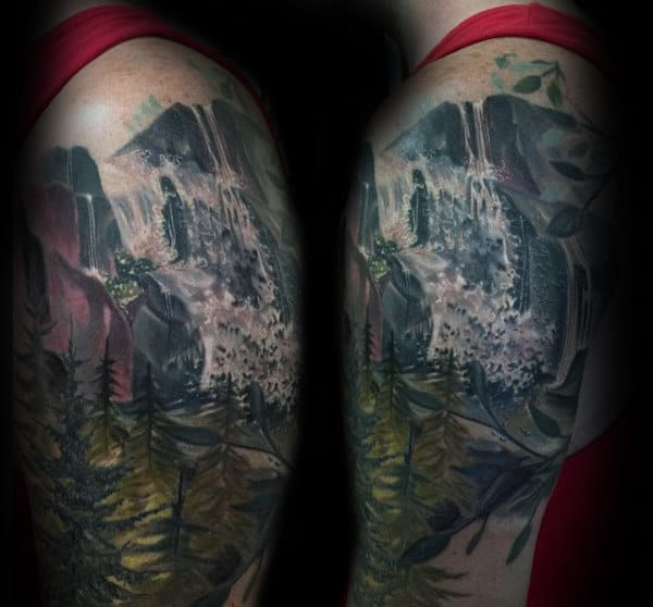 Gentleman With Watercolor Waterfall Tattoo On Upper Arm