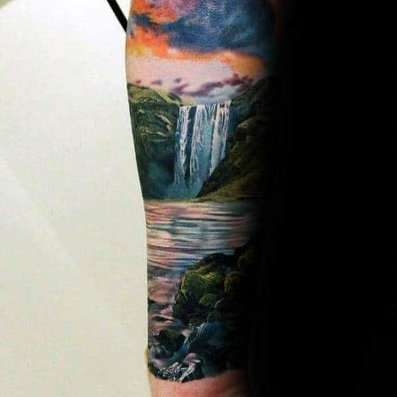 Gentleman With Waterfall Sunset Forearm Sleeve Tattoo