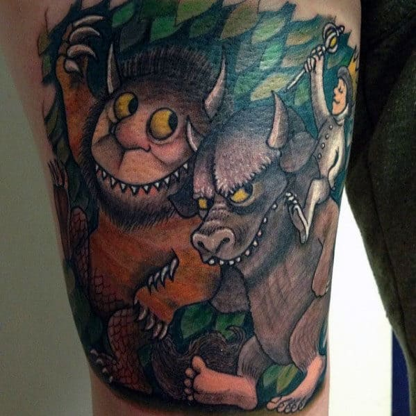 Gentleman With Where The Wild Things Are Thigh Tattoo