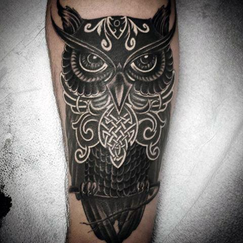 Gentleman With White And Black Ink Celtic Owl Tattoo On Inner Forearm