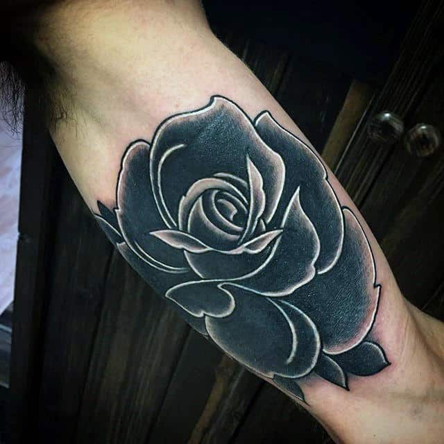 Gentleman With White And Black Ink Rose Tattoo On Inner Arm