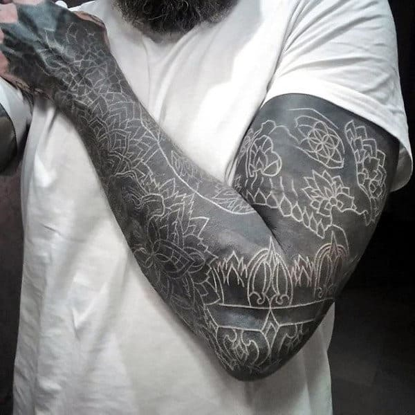 Gentleman With White Ink Over Blackwork Tattoo Sleeve