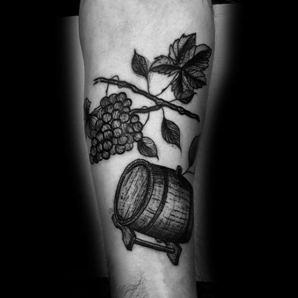 Gentleman With Wine Barrel Forearm Tattoo