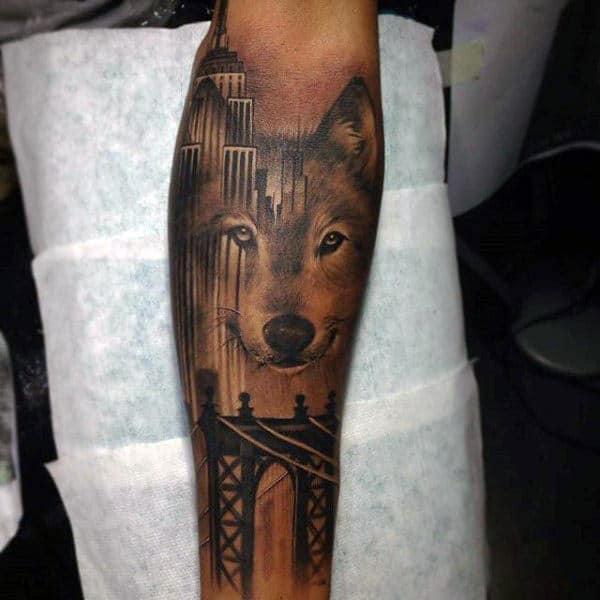 Gentleman With Wolf Brooklyn Bridge Leg Sleeve Tattoo