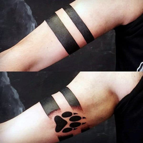 Gentleman With Wolf Paw Armband Tattoo