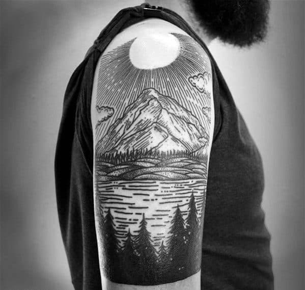 Gentleman With Woodcut Half Sleeve Lake Tattoo