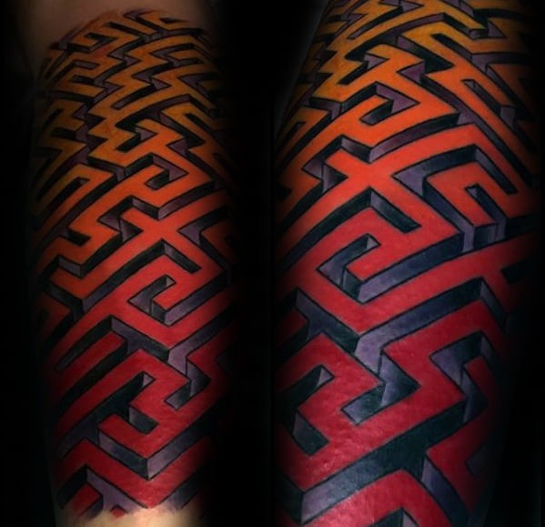 Gentleman With Yellow Orange And Red Ink Forearm Sleeve 3d Maze Tattoo