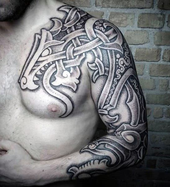 Gentlemans Chest And Arm Tribal Tattoos
