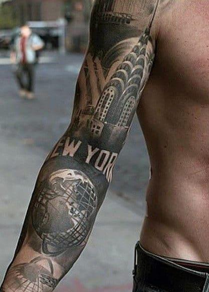 Gentlemen With Badass New York Themed Tattoo Sleeve
