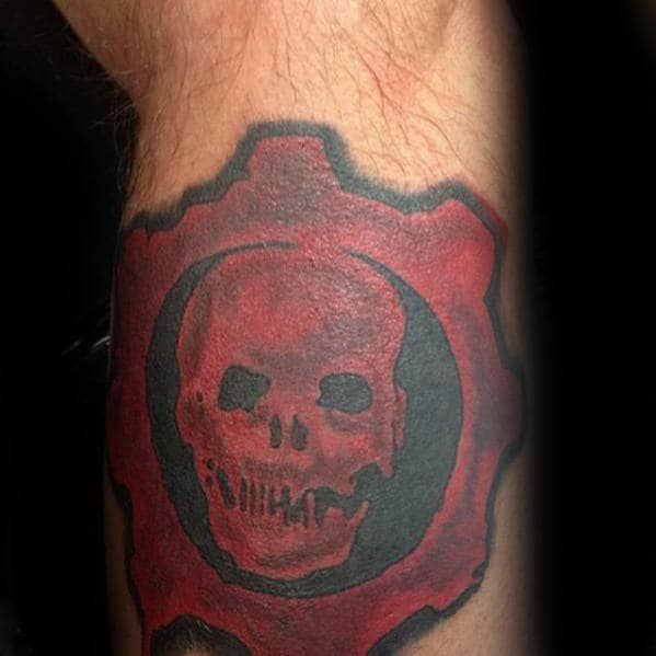 Gentlemen With Black And Red Gears Of War Tattoo On Side Of Leg