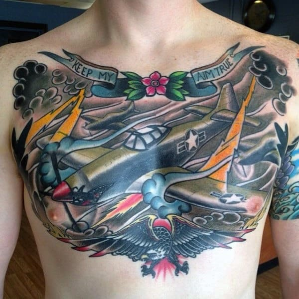 Gentlemen With Chest Air Force Plane Tattoo