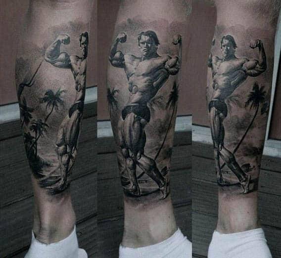 Caballeros con manga de pierna de Arnold Schwarzenegger Fitness Tattoo