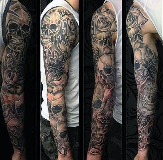 845373070 50 Skull Sleeve Tattoos For Men - Masculine Design Ideas