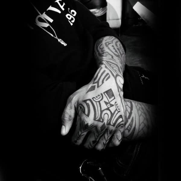 Gentlemen With Tribal Blacking Can Tattoo Design