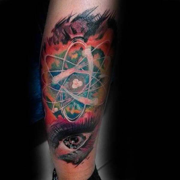 Gentlemen With Watercolor Atom Eye Forearm Tattoo