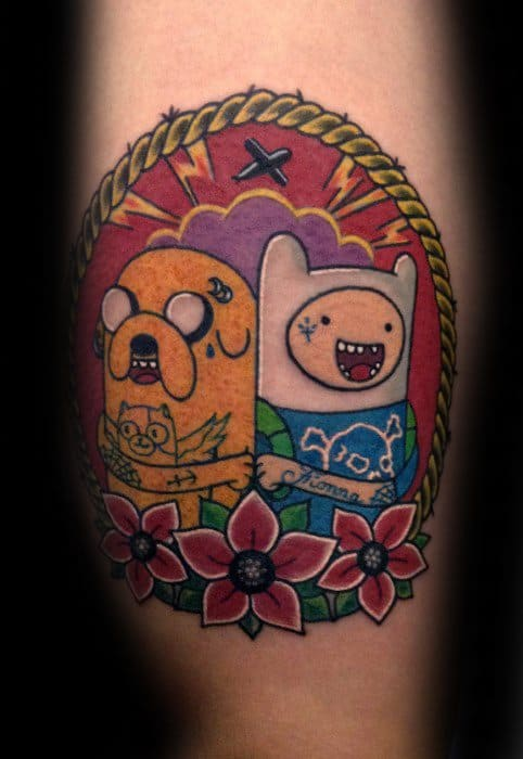 60 Adventure Time Tattoo Designs For Men Animated Ink Ideas