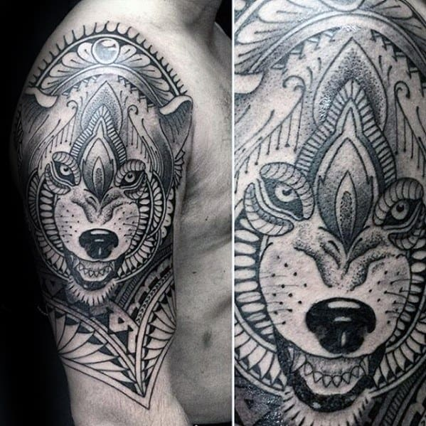 Gentlemens Awesome Wolf Arm Tribal Tattoo Ideas