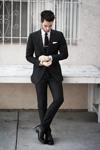 Gentlemens Black Suit Style Ideas