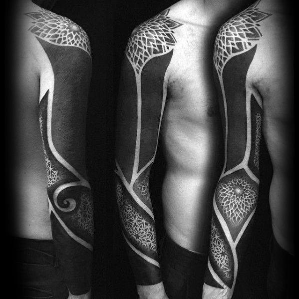 Gentlemens Blackout Sleeve Tattoo Ideas