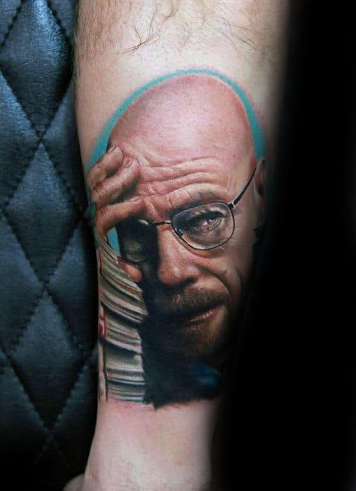 Gentlemens Breaking Bad Walter White Portrait Tattoo Ideas On Forearm