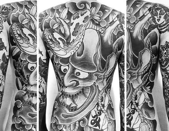 Gentlemens Full Back Demon Mask Shaded Japanese Snake Tattoo Ideas
