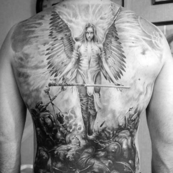 Gentlemens Full Back Valkyrie Tattoo Ideas